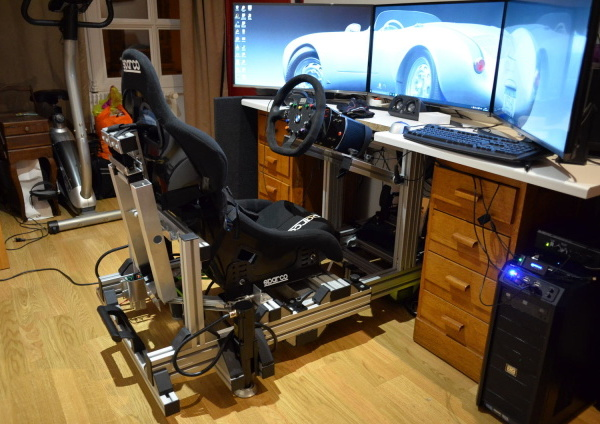 L'installation finie, le système de tendeur et le pivot du cockpit